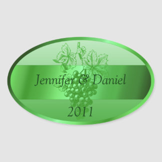 Green Personalized Custom Wine Labels Oval Sticker