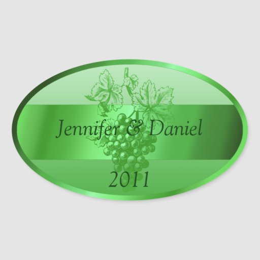 Green Personalized Custom Wine Labels Oval Stickers