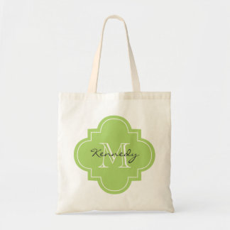 Green Personalized Monogram Tote Bags
