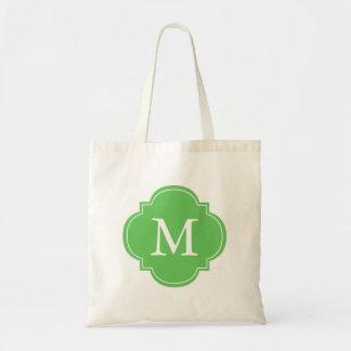 Green Personalized Quatrefoil Monogram Bags