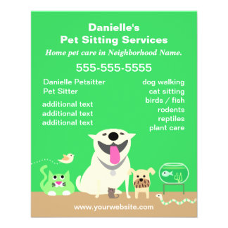 Green Pet Sitter Promotional Flyer