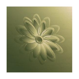 green petals wood print