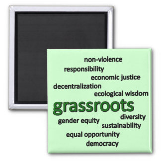 Green philosophy and values square magnet