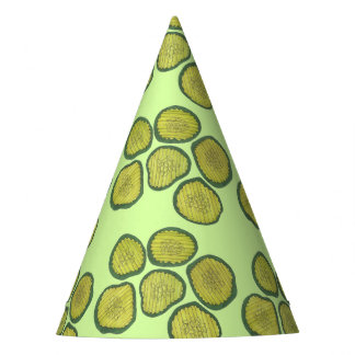 Green Pickle Chips Sweet Pickles Foodie Print Party Hat