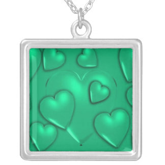 'Green Pillow Hearts' Necklace