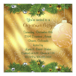 Green Pine Bough Gold Christmas Party 13 Cm X 13 Cm Square Invitation Card