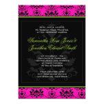 Green Pink and Black Damask Wedding Invitation