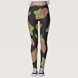 Green Pink and Black Leggings with Caladium leaf
