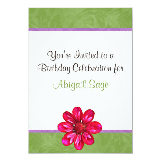 Green, Pink and Purple Flower Birthday Invitation