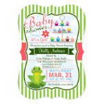 Green, Pink, and White Frog Theme Baby Shower 13 Cm X 18 Cm Invitation Card