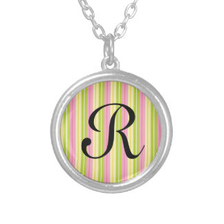 Green Pink and Yellow Retro Stripes Necklaces
