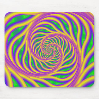Green Pink and Yellow Spiral Mousepad