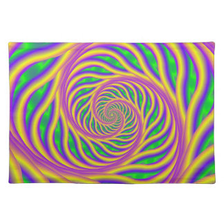 Green Pink and Yellow Spiral Placemats