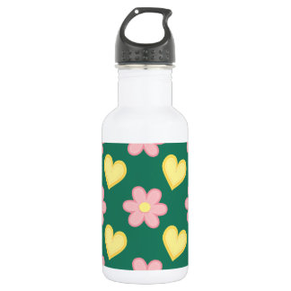 Green, Pink, and Yellow Stitched Hearts & Flowers 532 Ml Water Bottle