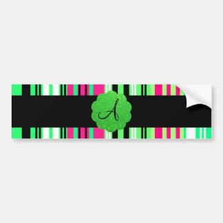 Green pink black striped monogram bumper sticker