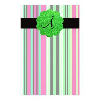 Green pink black striped monogram custom stationery