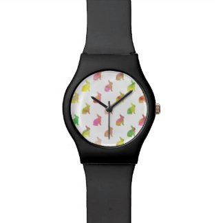 Green Pink Blue Watercolor Bunny Background Watch