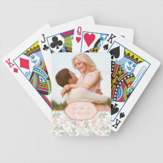Green & Pink Botanical Watercolor - Wedding Photo Bicycle Playing Cards