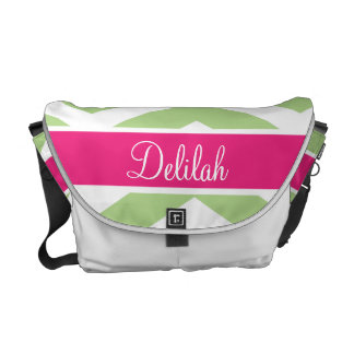Green Pink Chevron Custom Name Commuter Bags