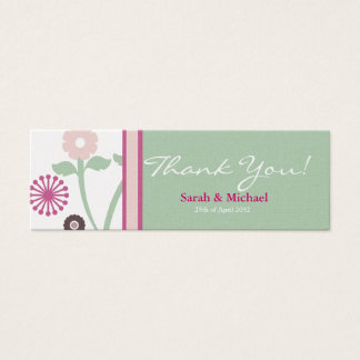 green & pink  floral Wedding favor Gift tag Mini Business Card