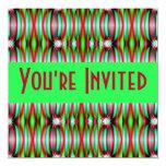 green pink fractal custom invitations