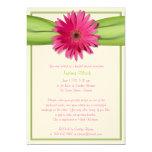 Green Pink Gerbera Daisy Bridal Shower Invitation