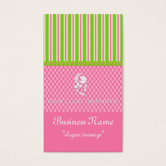 Green & Pink Girly Boutique Chic Business Cards