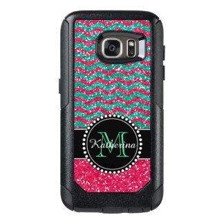 Green& Pink Glitter Chevron Personalized Defender OtterBox Samsung Galaxy S7 Case