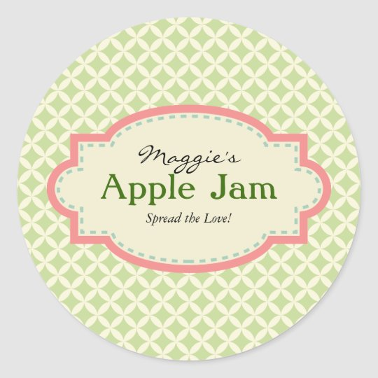 Green Pink Jam Jar Labels, Custom Classic Round