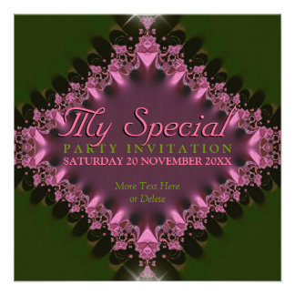 Green Pink Lace Special Event Party Invitation
