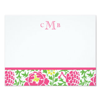 Green & Pink Retro Floral Damask 11 Cm X 14 Cm Invitation Card