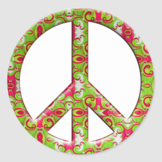 GREEN & PINK RETRO PEACE SIGN CLASSIC ROUND STICKER