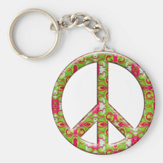 GREEN & PINK RETRO PEACE SIGN KEY CHAINS