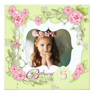 """Green Pink Rose Girls Photo 5th Birthday Party 5.25"""" Square Invitation Card"""