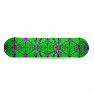 Green Pink Stars Fractal Skateboard