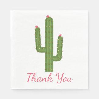 Green & Pink Thank You Cactus Flower Wedding Disposable Serviette