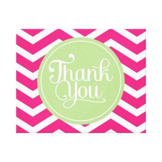 Green Pink Thank You Chevron Canvas Prints