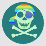 Green Pirate Skull Stickers