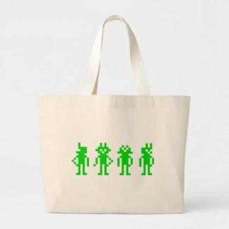 Green pixel robots tote bags