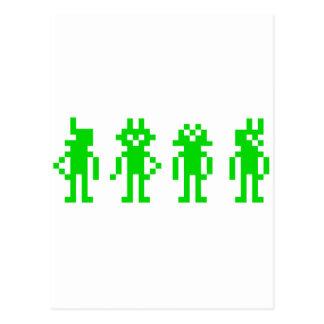 green pixel robots postcard