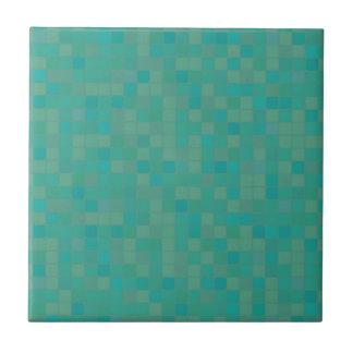 Green pixelated mosaic ceramic tile