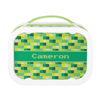 Green Pixelated Pattern | Personalized Lunch Boxes