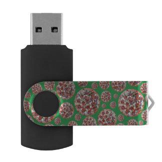 Green pizza pie swivel USB 2.0 flash drive