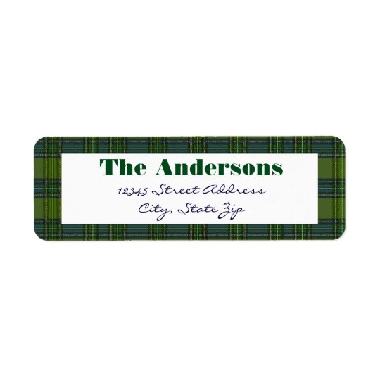 Green Plaid - Address Label
