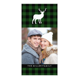 Green Plaid and White Stag | Holiday Card
