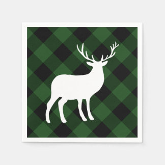 Green Plaid and White Stag | Holiday Disposable Napkin