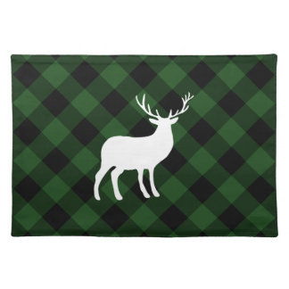Green Plaid and White Stag | Holiday Placemat