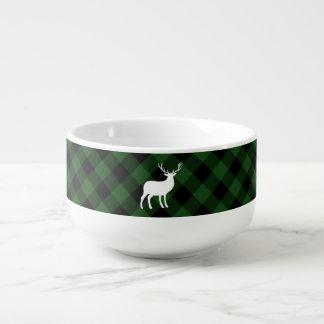 Green Plaid and White Stag | Holiday Soup Mug