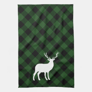 Green Plaid and White Stag | Holiday Tea Towel