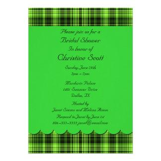Green Plaid Bridal Shower Invitation